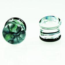 Echt Glas Ohr Piercing Plug Marmor Muster Grün Blau