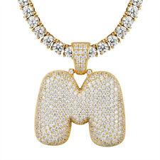 Bubble Letter M Pendant Custom 925 Silver Tennis Chain Gold Finish Sale