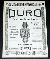 1907 OLD MAGAZINE PRINT AD, EXCELSIOR SUPPLY, DURO, HAM & E&J, MOTOR CAR LAMPS!
