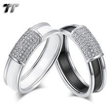 Luxury TT 6mm Stainless Steel White/Black Ceramics Band Ring (R409) NEW