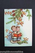 #D481- Vintage Marjorie M. Cooper Xmas Greeting Card Sweet Boys Singing