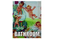 Bathroom cute babies childeren retro vintage style metal wall plaque sign