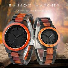 Couple Watch Men Women Wood Watches Bamboo Quartz Wristwatches Wooden Bracelet