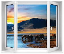 Sticker fenêtre trompe l'oeil Chevaux réf 183
