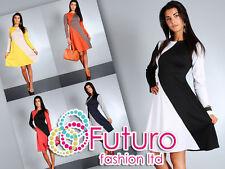 Women's Elegance & Unique due colori partito Vestito Maniche Lunghe Taglie 8-14 FA40