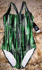 SPEEDO Endurance + Ultraback Green Black White 1 pc Swim Suit Womens Sz 8 10 12