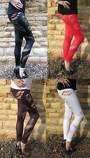Knöchellange Leggings Lack-optik SEXY Zerrissen Zerschnitten Farben 8 18 . 210