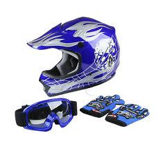 Youth Blue Skull Dirt Bike Motocross Quards ATV Helmet w/Goggles+Gloves S/M/L/XL