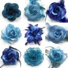 HAARBLUME HAARGUMMI Ansteckblume Federn Zopfband Brosche PERLCHEN Ø 9cm Blau