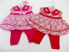 baby bambine rosso o rosa fiori vestito estivo leggins 0-3m 3-6 m 6-9 mesi
