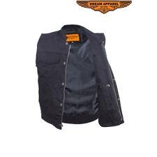 Men's Concealed Carry Black Denim Motorcycle Club & Biker Vest with Zipper