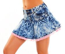 SeXy Miss Damen Hüft Jeans Mini Rock Moonwashed Stickerei Tüll Volant 34 36