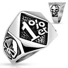 Ring Mens Biker Skull Stainless steel Rock n Roll handmade tattoo Silver 1%