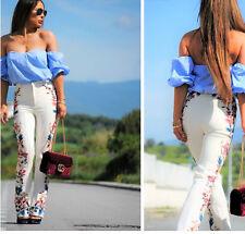 ZARA crudo Floral Lateral Estampado Pantalones Acampanados talla XS S M L