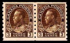 CANADA #129  REGULAR COIL PAIR 1918  MOGNH - F/VF - 2014 CV = $110.00  (ESP#55)