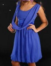 Trendy Damen Chiffon Ballon Cocktail Party Abend Kleid Satin Schärpe 32 34 Blau