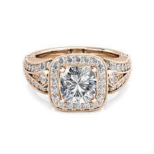 2.41 ct Cushion Charles Colvard One Moissanite & Diamond Engagement Ring 18k WG