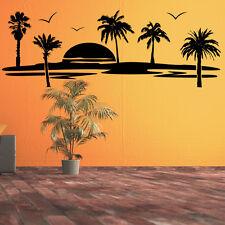 Wandtattoo Sonnenuntergang Palmen Vögel Karibik Strand Meer +380+