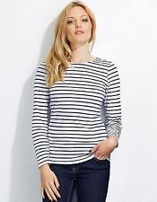 Damen Longsleeve Striped T-Shirt Marine gestreift   SOLs