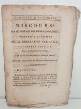 Discours sur le partage des Biens Communaux, par J. Souhait, Convention An II