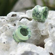Pair Organic Green Turquoise Stone Ear Plug Gauges FleshTunnels Natural Polished