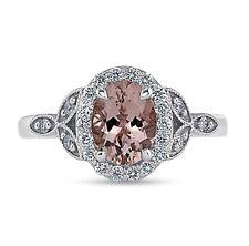 1.0 Ct 8x6 Oval Morganite Antique Diamond Halo Milgrain Ring in 14k White Gold