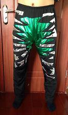 Lycra spandex zentai wrestling tights/pants metallic green/black/Silver S-XXL