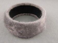 "Pewter Grey bangle bracelet faux fur furry 1.25"" wide bangle bracelet cuff"