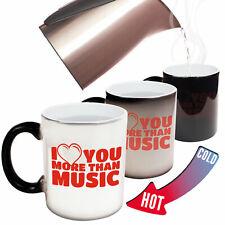 Funny Mugs BM I Love You More Than Music Band Rock Pop Guitarist Drum MAGIC MUG