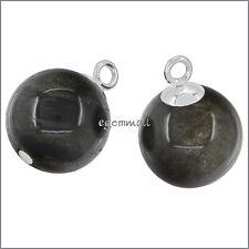 2 Sterling Silver Golden Obsidian Dangle Charm Earring Pendant Beads 12mm #51865