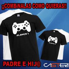 Camiseta padre hijo hija player 1 player 2 gamer papa regalo (ENVIO 24/48h.)