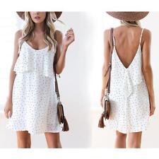 Summer V Neck Sleeveless Polka Dot Pattern Backless Mini Dress For Women B