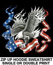BIRD OF PREY CHARGING AMERICAN USA BALD EAGLE FLAG ZIP HOODIE SWEATSHIRT WS525