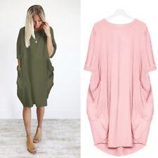 New Plus Size Ladies Italian Lagenlook Quirky Long Boho Pocket Linen Tunic Dress