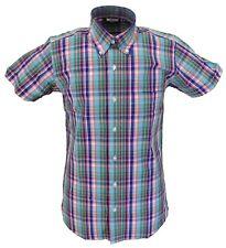 Relco Manga Corta Cuadros 33 Botones Camisas Retro De Algodón 100%