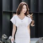 Elegante vestito abito corto tubino bianco evento lungo slim morbido 4401 342cb1254bd