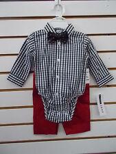 Infant Boys IZOD $40 3pc Long Sleeve One Piece w/ Pants Set Sz 0/3M - 6/9M