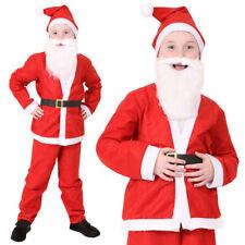 CHILDS SANTA COSTUME & BEARD KIDS FATHER CHRISTMAS SUIT UNISEX XMAS FANCY DRESS