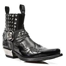 New Rock Vintage Ladies Black Leather Biker Steel Heel Stud Boots - M.7950.S1