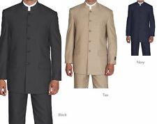 Men's Mandarin Collar Pin Stripe Church Suit Style 925H