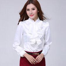 Ladies Satin Office Shirt Top Ruffles Blouse Slim Fit  Long Sleeve Chiffon Shirt
