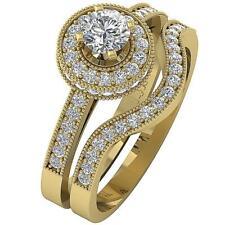 Milgrain Halo Diamond Wedding Bridal Ring 1.10Ct 14K Solid Yellow Gold Prong Set