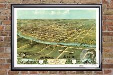 Vintage Iowa City, IA Map 1868 - Historic Iowa Art - Old Victorian Industrial