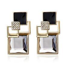 Wedding Bridal Crystal Rhinestone Geometric Square Ear Drop Dangle Stud Earrings