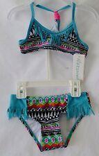 Girls Swimwear by Jantzen Girls  Aqua and Black Geometric Bikini  size 4