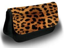 Orange Leopard Print Make Up Bag Case Makeup Cosmetics Pattern Gold Golden D180