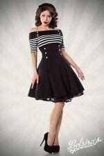 Vintage-Kleid Streifen mit Carmen- Ausschnitt