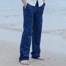 Men's Summer Casual Pants High quality Cotton Elastic Waist Linen Trousers