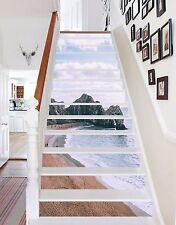 3D Sky coast Stair Risers Decoration Photo Mural Vinyl Decal Wallpaper AU