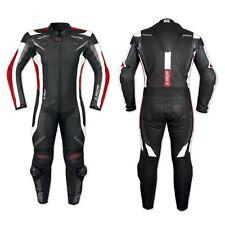 Combinaison 1 pc Cuir Vachette Protections CE Doublure Mesh Moto Motard Rouge